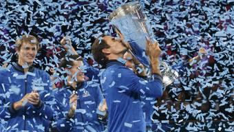 Schöne Erinnerungen: Bei den ersten drei Austragungen gewann Roger Federer jeweils mit dem Team Europa den Laver Cup