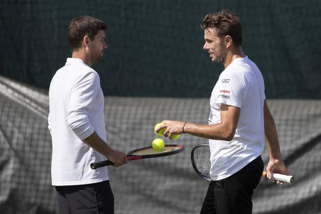 Stan Wawrinka lässt offen, ob er die Zusammenarbeit mit Dani Vallverdu (l.) auch nach Wimbledon fortsetzt.
