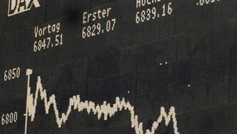 Die Kursverläufe an den Börsen zeigen nach unten