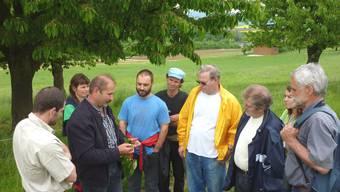 Gusti Freiermuth (3. v. l.) erklärt die Baumpflege, die für die Gesundheit der Kirschen wichtig ist. (ghi)