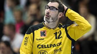Kein erfreulicher Abend: Kadetten Schaffhausens Goalie Nikola Marinovic