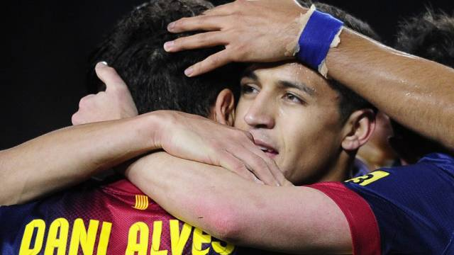 Alexis Sanchez gefeierter Torschütze zum 1:0 für Barcelona.