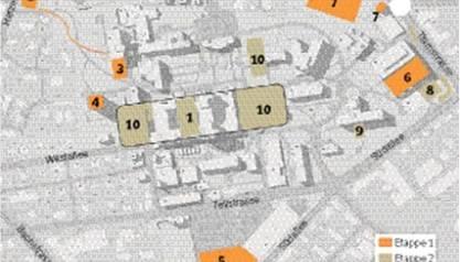 Die Bauvorhaben (Nr. 5 ist unten, Nr. 2 oben links)