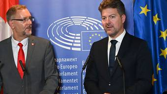 Die beiden Delegationsleiter in Strassburg vor den Medien: der Zürcher FDP-Nationalrat Hans-Peter Portmann (links) und sein EU-Kollege, der deutsche CDU-Politiker im EU-Parlament, Andreas Schwab.