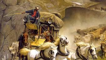 Auch ohne Tunnel war der Gotthard – natürlich – ein grosses Transportthema: Rudolf Kollers berühmtes Gemälde «Gotthardpost» von 1873. Keystone