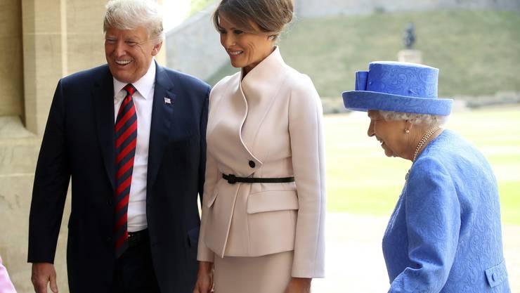 Queen Elizabeth II. hat US-Präsident Donald Trump und First Lady Melania auf Schloss Windsor empfangen.