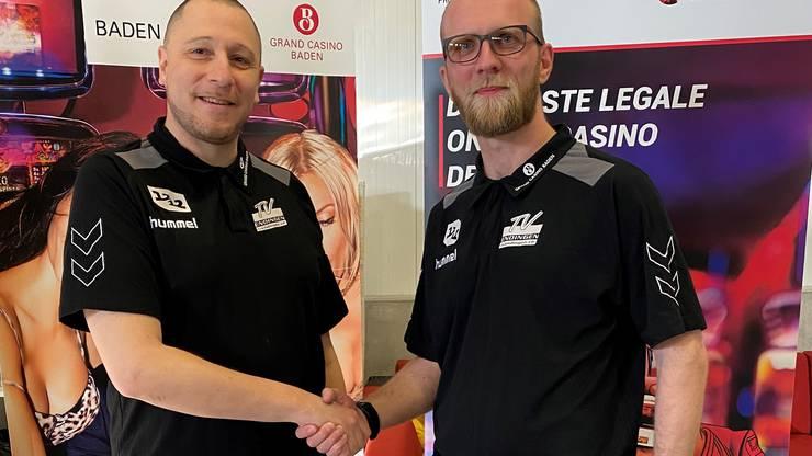 Alex Strittmatter (r.) bei der Verkündung seiner Übernahme des Amtes als sportlicher Leiter des TVE im Februar zusammen mit Trainer Zoltan Majeri.