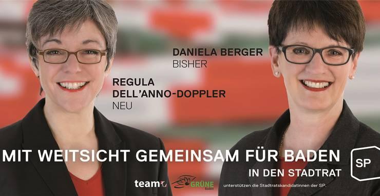 Regula Dell'Anno (links) und Daniela Berger auf dem Wahlplakat von 2013.