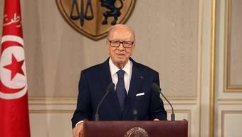 Der tunesische Präsident Beji Caid Essebsi während seiner Fernsehansprache