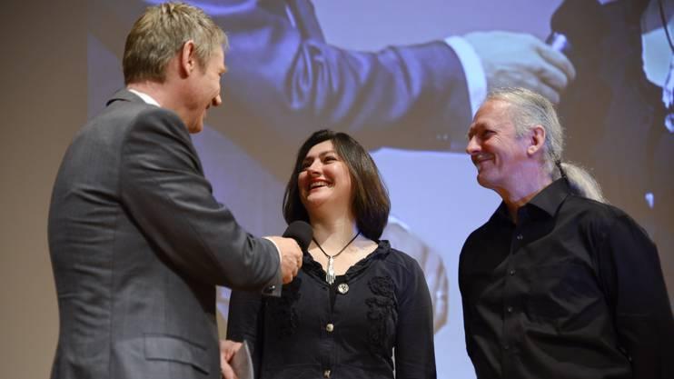 Kuno und Adriana Schaub Basso bei der Entgegennahme des Solothurner Unternehmerpreises im Januar 2014.