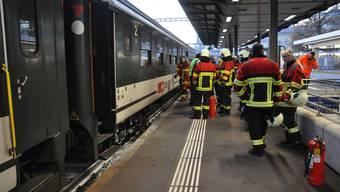 Brennende Zugsbremsem im Bahnhof Aarau