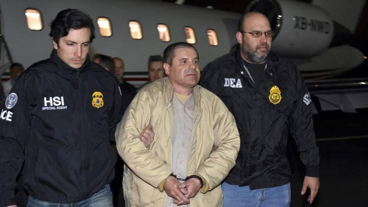 """In New York hat der Prozess gegen den Joaquin """"El Chapo"""" Gusman begonnen. Laut Anklage war Guzman der Chef des mexikanischen Sinaloa-Drogenkartells.  (Foto: US. law enforcement via AP, Archiv)"""