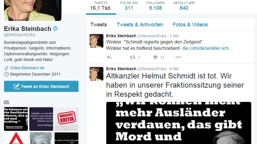 Erika Steinbachs Tweet sorgt für Empörung.