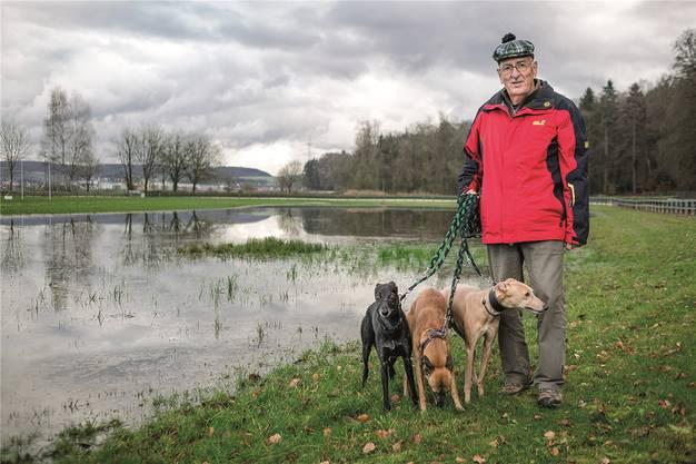 Hansueli Egger, Präsident des Windhundrennvereins Kleindöttingen, auf der Rennanlage mit seinen Windhunden Lotus (r.), Jeri (M.) und Chayenne.