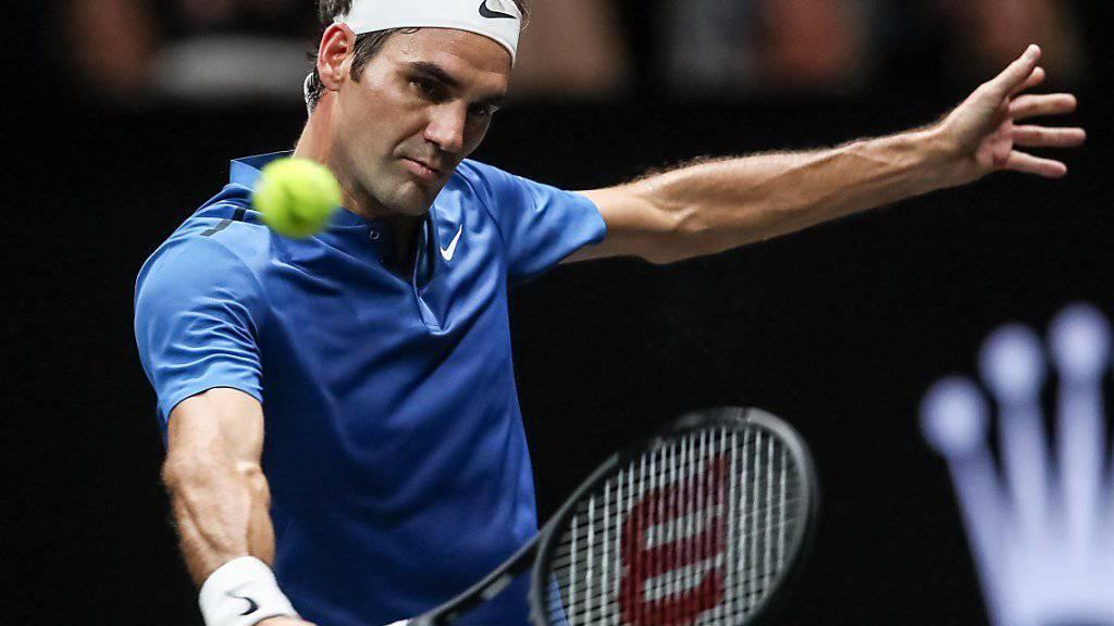 Roger Federer - im Bild am Laver Cup in Prag - spielt in der 1. Runde des ATP-Turniers in Schanghai gegen Diego Schwartzman.