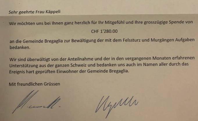 Die Altstadt-Coiffeuse Susanne Käppeli hat von der Bergsturz-Gemeinde Bondo einen Dankesbrief erhalten.