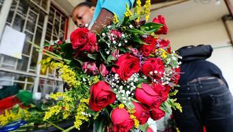 Heute hoch im Kurs: Rote Rosen, einige davon aus fairem Handel.