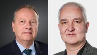 Christophe Haller, Komiteemitglied und FDP-Grossrat (links) und Georg Mattmüller, Komiteemitglied und SP-Grossrat (rechts)