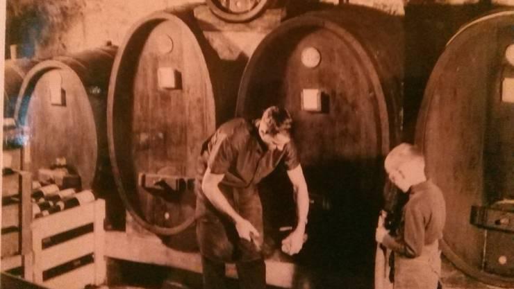 Vater Josef und Sohn Meinrad in der alten Trotte.