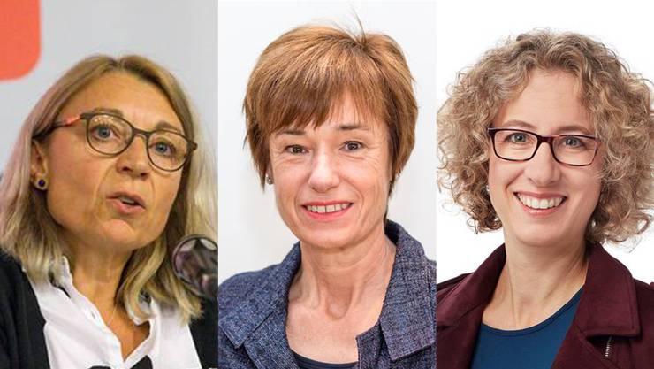 Wer holt sich den freien Sitz in der Kantonsregierung nach dem Rücktritt von Franziska Roth? Gespräche laufen für diese drei Frauen: SP-Nationalrätin Yvonne Feri, CVP-Nationalrätin Ruth Humbel und GLP-Grossrätin Barbara Portmann.