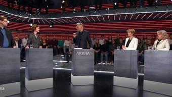 Zoff um 5G in der «Arena»: Prelicz-Huber (Grüne, rechts) legte sich mit Jörg Mäder (GLP, links) an.