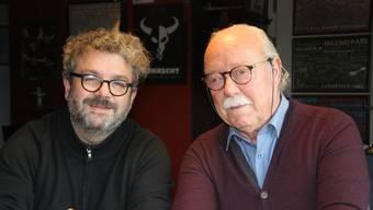 Zufriedene Gesichter in der Kulturfabrik Kofmehl: Pipo Kofmehl und Rolf Studer.
