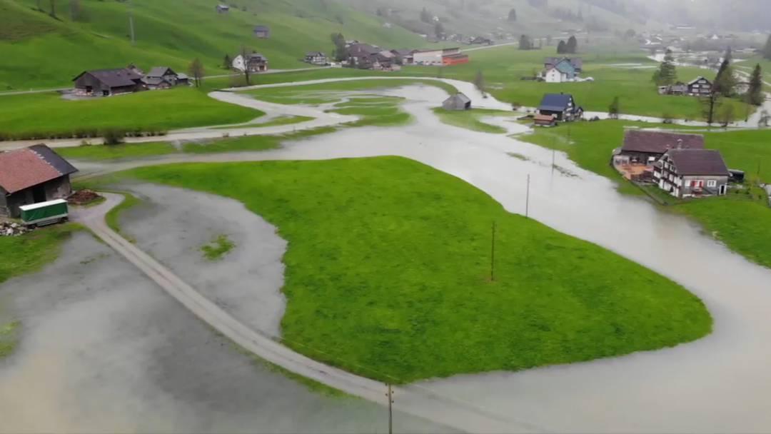 Drohnenbilder: Hochwasser im Toggenburg