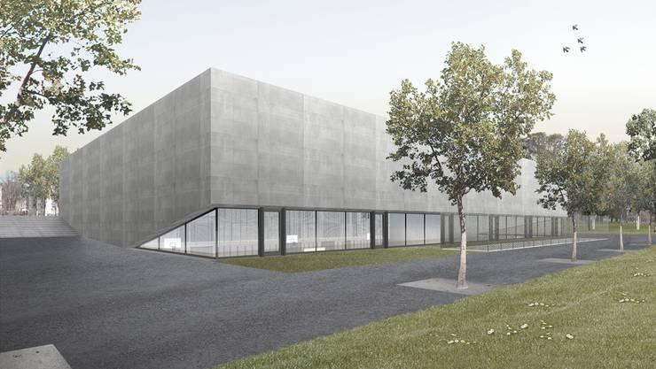 So soll die neue Dreifachturnhalle in der Schulanlage Margeläcker dereinst aussehen. (Visualisierung)