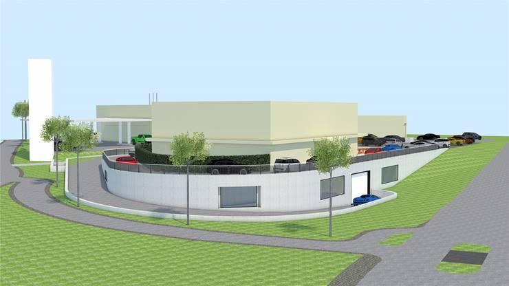 So stellen sich die Planer das Gebäude mit seinen vier Teilen vor. (Visualisierung)
