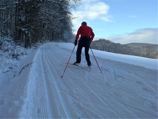 So viel Schnee hat es nicht mehr, aber die Staffelegg-Loipe ist noch geöffnet. zvg