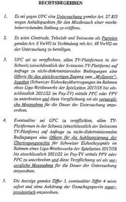 Auszug aus dem Rechtsbegehren der Swisscom.