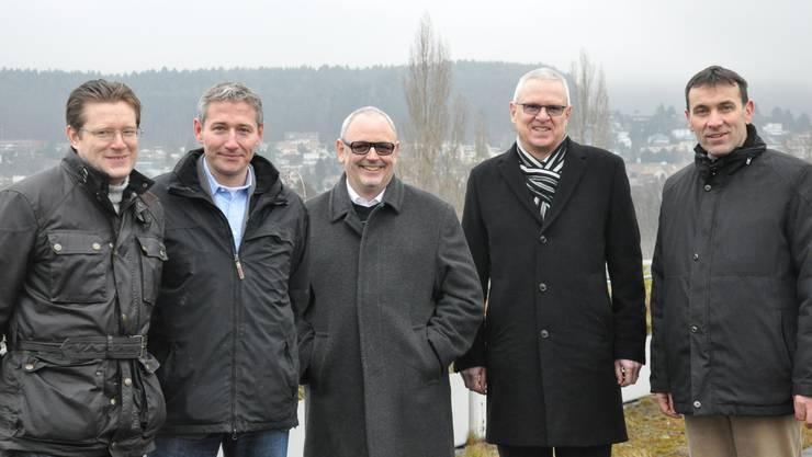 """Überparteiliches Komitee """"Zukunft Silbern - Ja"""": Josef Wiederkehr (CVP), Markus Erni (SVP), Martin Müller (DP), Werner Hogg (FDP), Thomas Wirth (EVP)"""