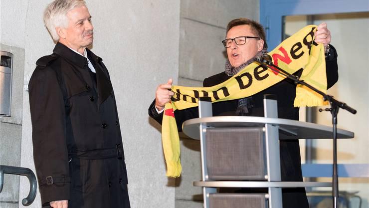 «Angriffe schmerzen»: Fredy Böni (r.) mit Grossratspräsident Bernhard Scholl.