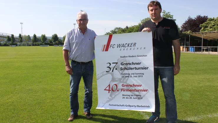 Markus Bolliger (links) und Beat Lauper freuen sich auf ein faires 40. Firmenturnier.