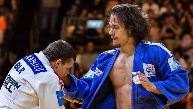 Ciril Grossklaus (rechts) trat zwar entschlossen auf, unterlag aber dennoch Yahor Varapayeu aus Belarus. zvg
