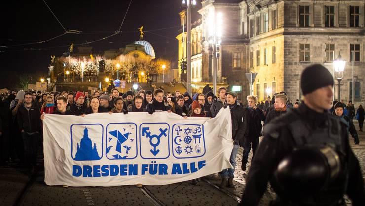 «Dresden für alle»: Anti-Pegida-Protest in der ostdeutschen Grossstadt.