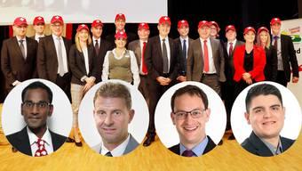 Naveen Hofstetter, Ueli Haller, Christoph Hagenbuch und Sandro Wächter möchten den freien Listenplatz.