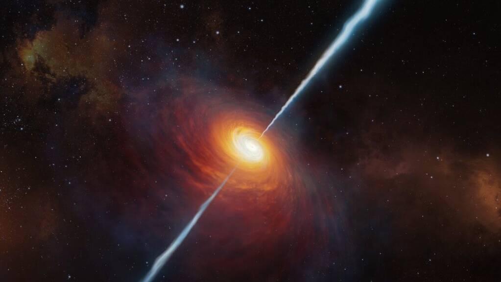 Eine künstlerische Darstellung des Quasars mit dem Namen P172+18. Er ist so weit entfernt, dass sein Licht etwa 13 Milliarden Jahre unterwegs war, bis es die Erde erreichte. (Handout ESO)