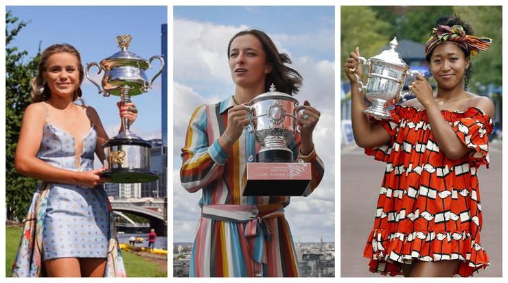 Sofia Kenin, Iga Swiatek und Naomi Osaka (von links nach rechts) hiessen die Siegerinnen bei den drei Grand-Slam-Turnieren.