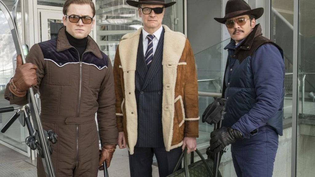 V.l.n.r.: Taron Egerton, Colin Firth und Pedro Pascal in «Kingsman: The Golden Circle.» In der Deutschschweiz legte der Film am Wochenende einen starken Start hin. (Archivbild)