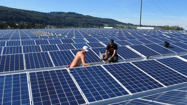 Bei der Montage der Solarpanels auf der Ferrohalle B in Wohlen halfen auch freiwillige «Solarmacher» von Greenpeace mit