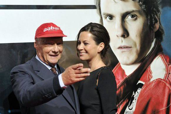 Lauda mit Frau Birgit an der Premiere des Films «Rush».