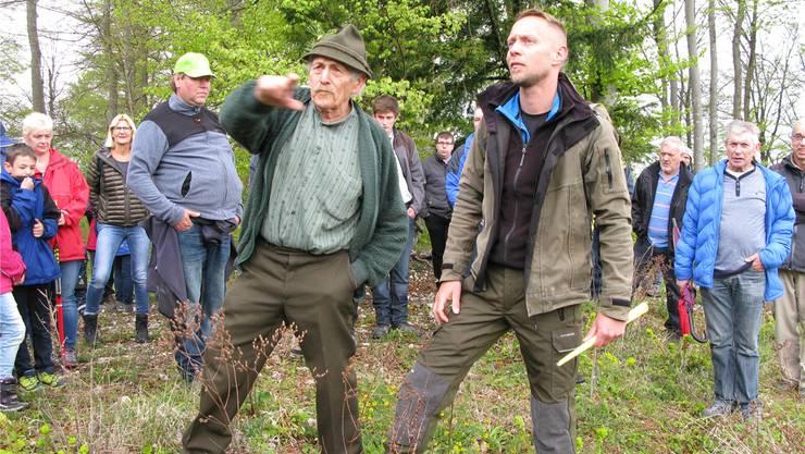 Richard Gubler und Revierförster Markus Lüdi erklären den Holzschlag im Schnäpf.
