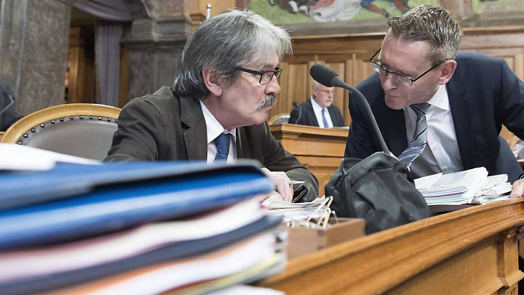 Die beiden Finanzpolitiker Roberto Zanetti (SP/SO) und Pirmin Bischof (CVP/SO) in der Debatte über die Unternehmenssteuerreform III im Ständerat.