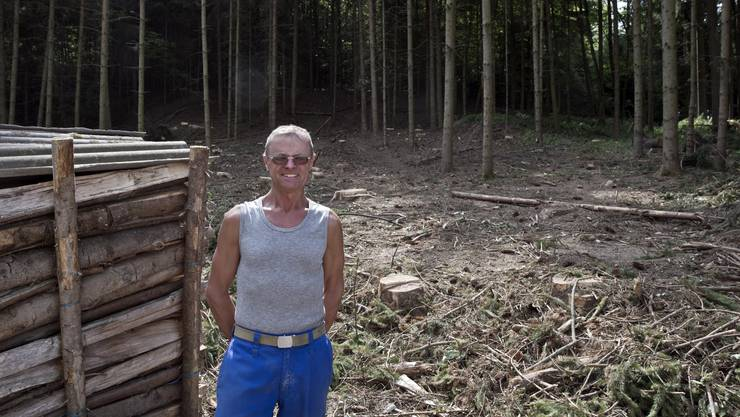 Waldbesitzer und Landwirt Hansjörg Knecht aus Baldingen neben einer der jüngsten Fichten-Brachen.