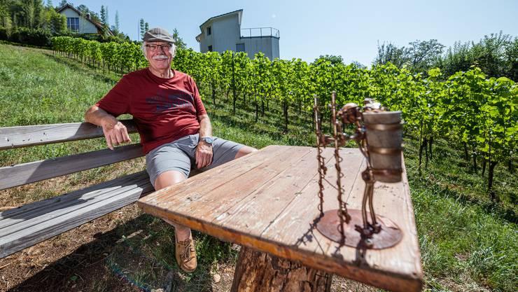 Ruedi von Arx vor seinen Reben mitten in Oensingen: Bis zu 400 Flaschen Wein kann er jährlich daraus machen lassen.