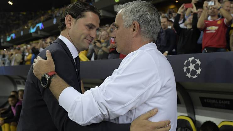 YB-Trainer Gerardo Seoane nach dem Hinspiel in Bern mit ManUtd-Starcoach José Mourinho