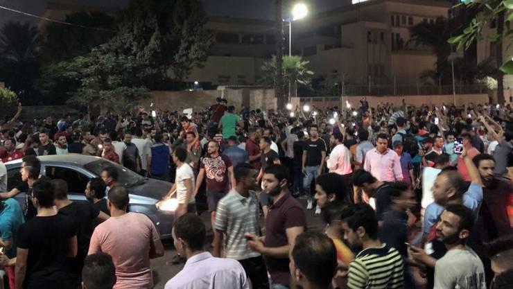 Einer der seltenen Proteste gegen das Regime in Downtown Kairo.