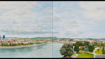 Das sechs Meter lange Panorama «Basel 180 View» des Malers Richard Zihlmann hängt derzeit in der Basler Innenstadt.