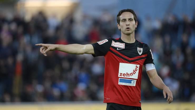 Aaraus Captain Sandro Burki spielte gegen Xamax sein 340. Spiel im Dress des FC Aarau.